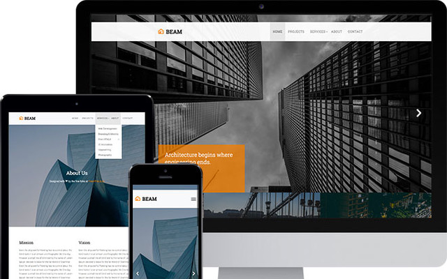 Beam Free Website Template Using Bootstrap thumbnail