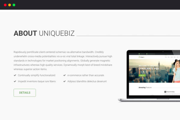 UniqueBiz Corporate HTML Template thumbnail