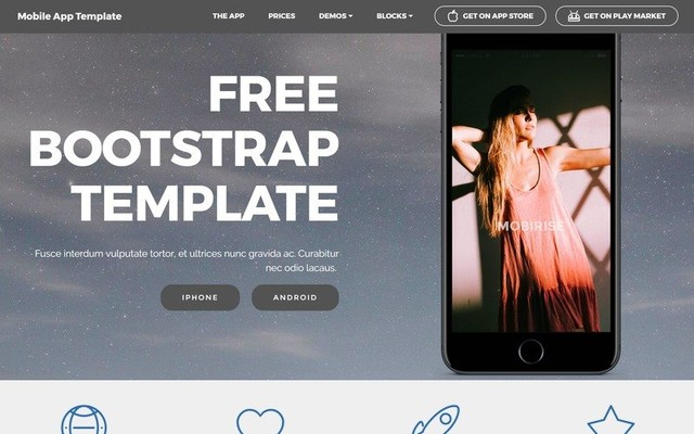 Mobile App Bootstrap Template by Mobirise thumbnail