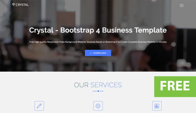 Crystal - Free Bootstrap Video Background Website Template thumbnail