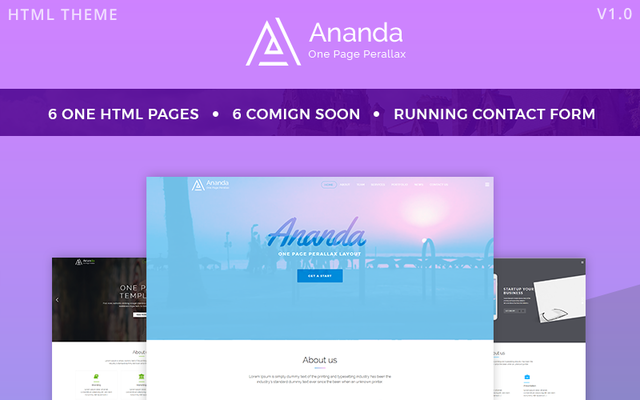 Ananda - One Page Parallax Website Template thumbnail